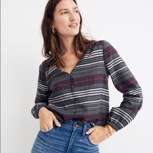 Madewell VNeck Button-Down Shirt in Pineview Plaid
